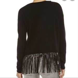 NWT John + Jenn Black Faux Leather Fringe Sweater